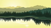 Beautiful sunset at mountain lake with pine trees on coast. Vector landscape. Summer panorama of the mountains in shades of green. Eps 10.