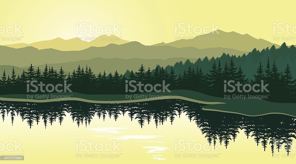 Beautiful mountain landscape with reflection in the lake vector art illustration