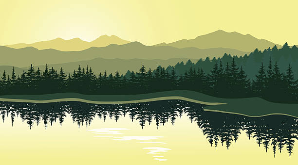 piękny górski krajobraz z odbicie w jeziorze - jezioro stock illustrations
