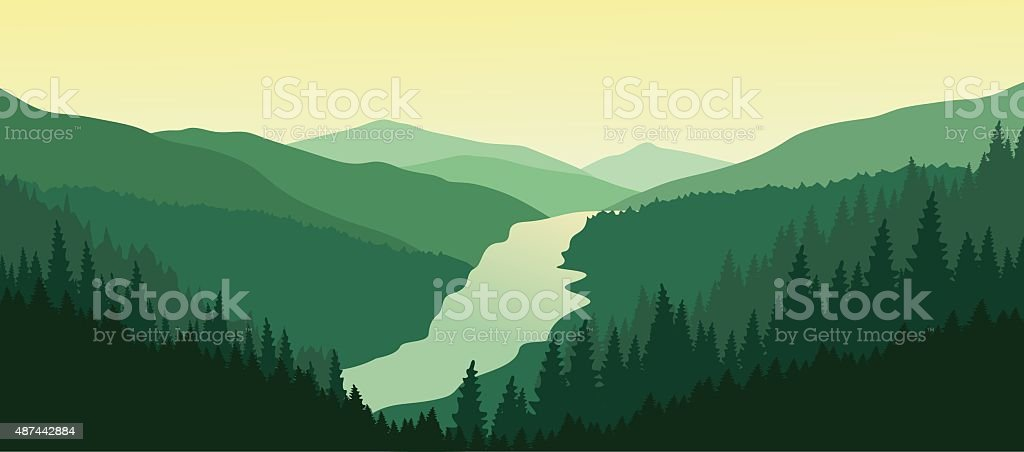 Beautiful mountain landscape with the river in the valley.