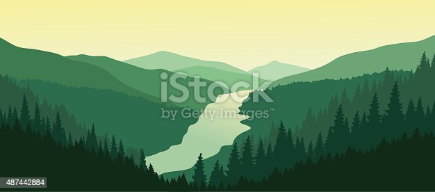 Mountain landscape with green pine forest in the summer. Sunset in the mountains. Vector illustration. EPS 10.