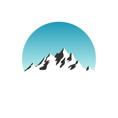 Beautiful mountain silhouette in blue daylight sky circle on white background logo