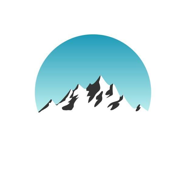stockillustraties, clipart, cartoons en iconen met mooie berg silhouet in blauwe daglicht sky circle op witte achtergrond logo - stickers met relief