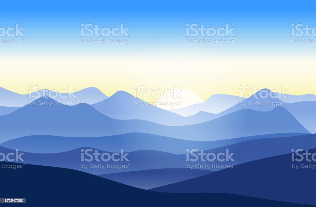 Beautiful mountains landscape at sunrise vector art illustration
