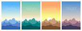 Beautiful mountains landscape in different time of day. Set of stylish outdoor card templates. Paper cut style, 3D.