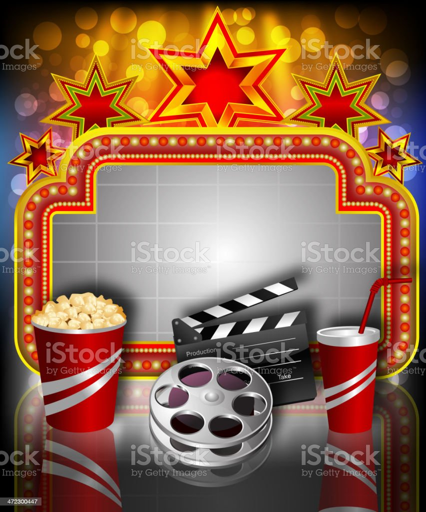 Beautiful Movie Background with Marquee display royalty-free stock vector art