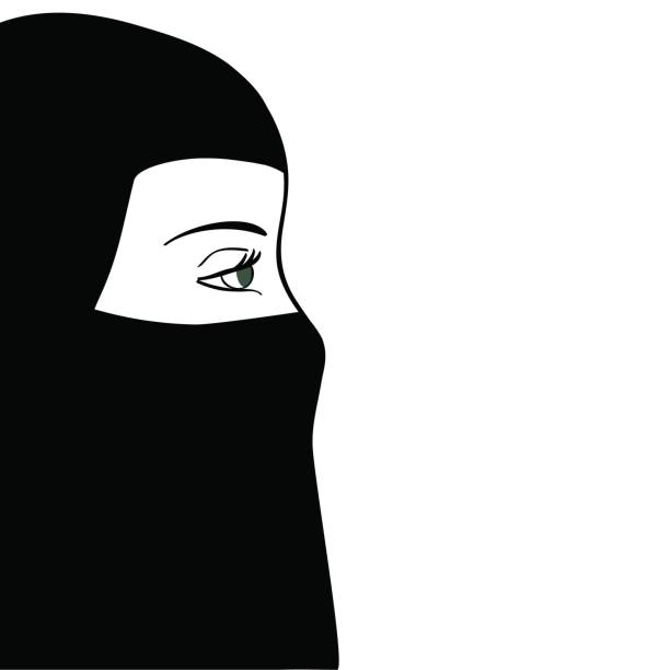 beautiful muslim woman in black nijab. vector illustration - отвести взгляд stock illustrations