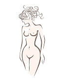 Beautiful naked sexy woman with upwardly carelessly curly hair. Sketch vector illustration embodiment of beauty, health, grace, attraction.