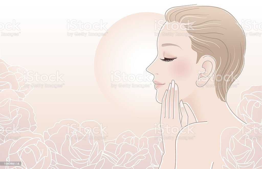 Beautiful Naked Woman touching her face in roses royalty-free stock vector art