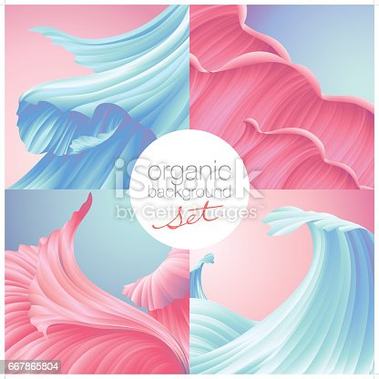 A set of 4 beautiful close-up view of organic texture background in blue and pink colors. Each texture is grouped individually.
