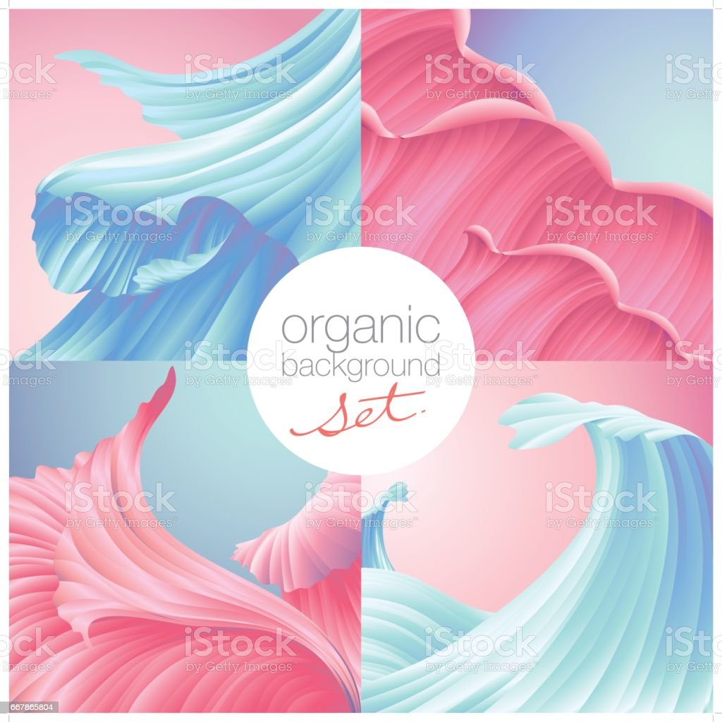 beautiful natural texture background set in pink & cyan colors vector art illustration