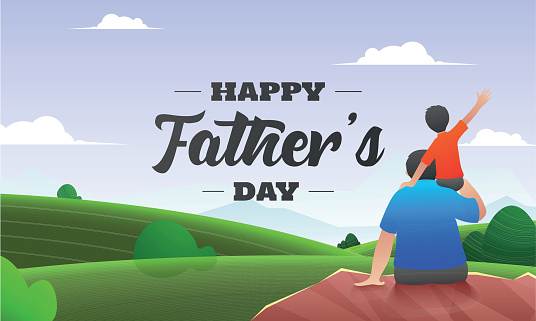 Beautiful nature background with back view of son sitting on his father shoulders for Happy Father's Day celebration banner design. clipart