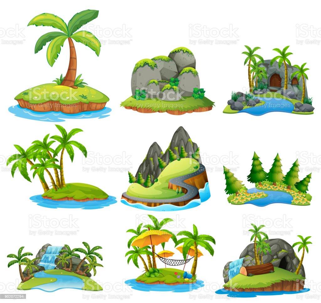 Schöne Natur-Insel auf weißem Hintergrund – Vektorgrafik