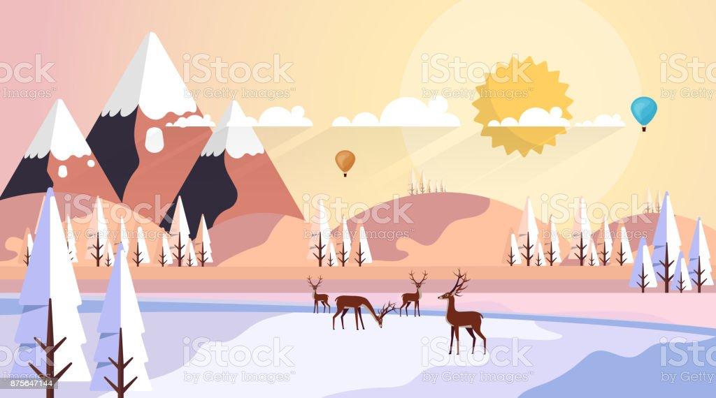 美しい自然冬ベクトルの風景イラスト アウトドアのベクターアート素材