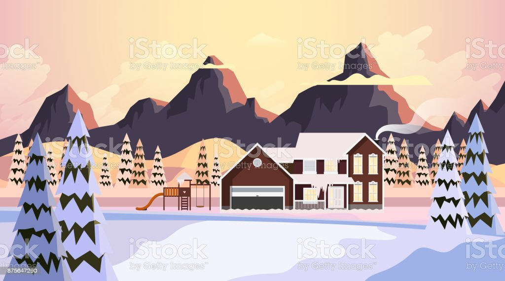 Vacker natur landskap vinter vektorillustration - Royaltyfri Berg vektorgrafik