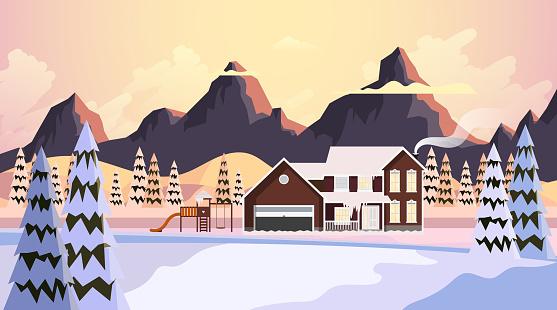 Vacker Natur Landskap Vinter Vektorillustration-vektorgrafik och fler bilder på Berg