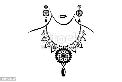 Beautiful Line art image of Necklace and Pendant