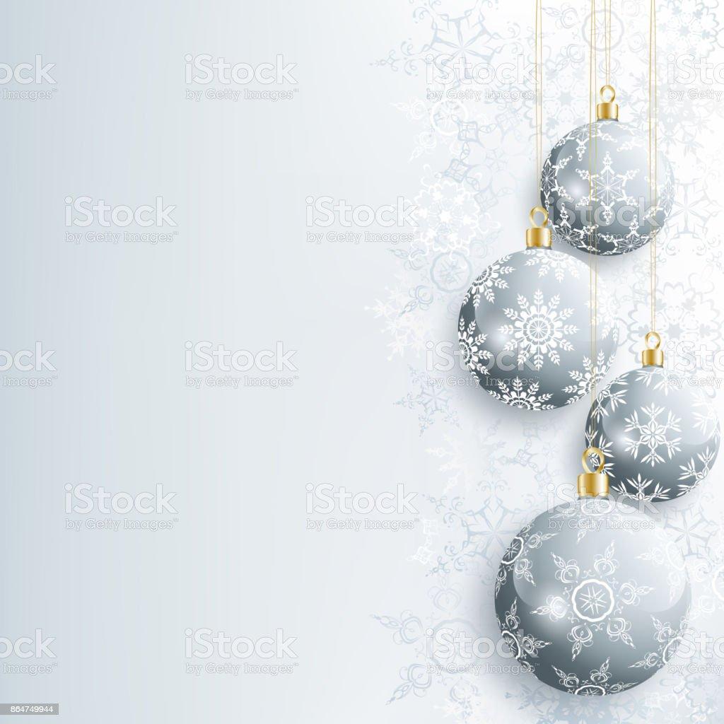 Schönes Neues Jahr Und Weihnachtskarte Mit Grauen Weihnachtskugel ...
