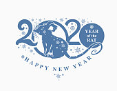 Beautiful New Year card with the symbol of 2020 Rat. Blue pattern 2020. Silhouette of figures and snowflakes. Vector element for New Year's design.