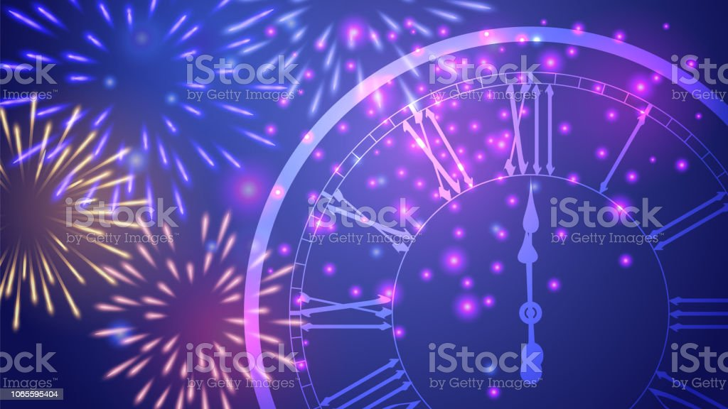 beautiful new year greeting card with colorful glittering fireworks and a clock on blue background