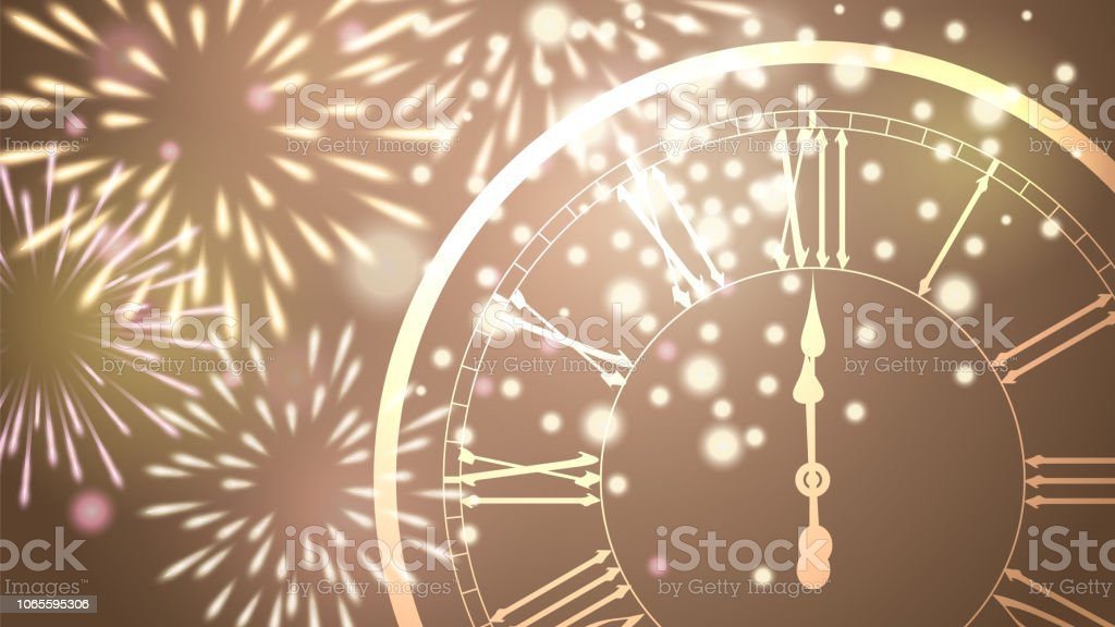 beautiful new year greeting card with glittering fireworks and a clock on golden background royalty