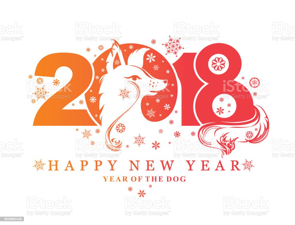 Beautiful New Year Pattern With The Symbol Of 2018 Dog Stock Vector