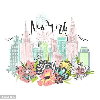Hermosos Rascacielos De Nueva York Horizonte Con Floral Ramo De ...