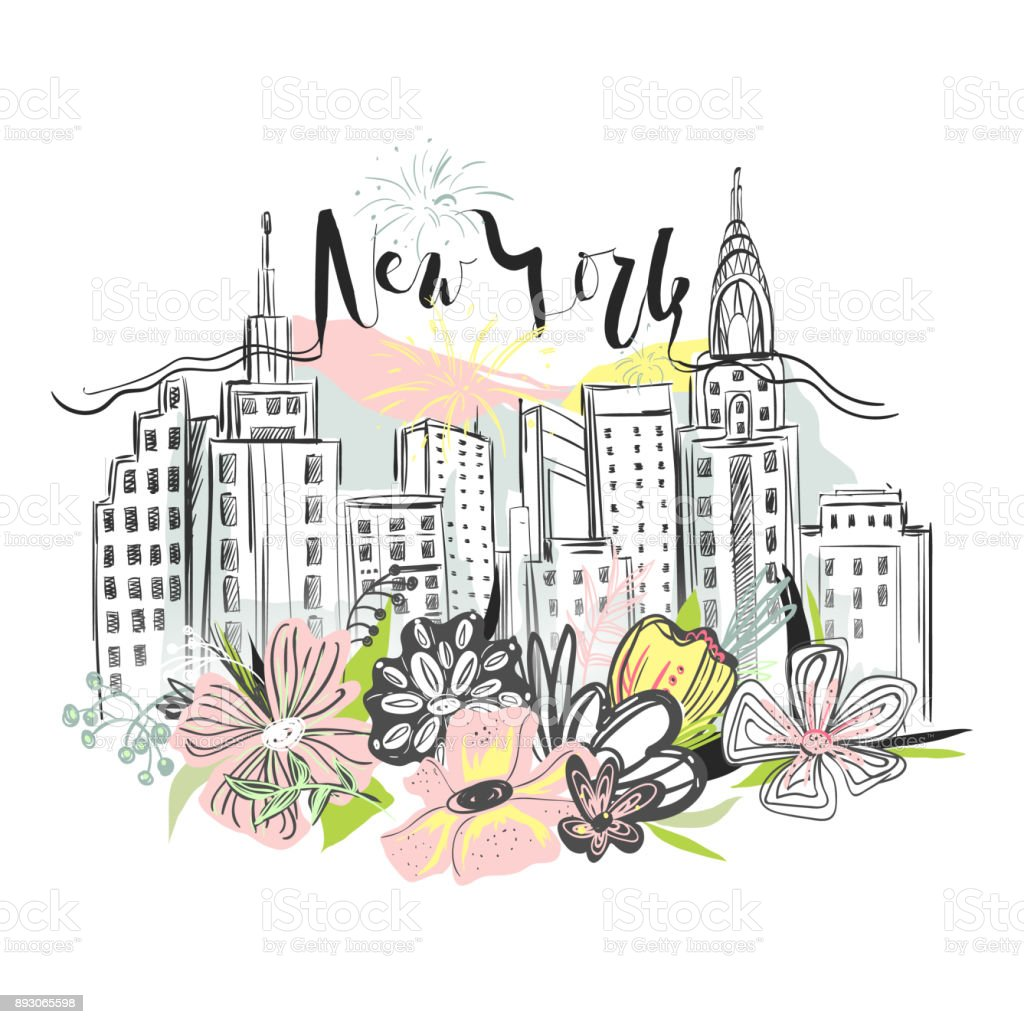 Beautiful New York skyscrapers, skyline with floral, flowers bouquet and fireworks vector art illustration