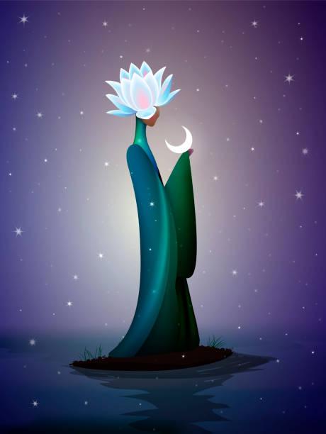 bildbanksillustrationer, clip art samt tecknat material och ikoner med vacker natt älva, sping fairy, fantastisk flod älva, siluett av kvinnan med lilja blomma på huvudet toppen på floden och månen, vektor - earth from space