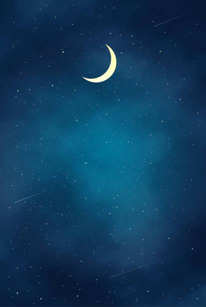 illustrazioni stock, clip art, cartoni animati e icone di tendenza di bella illustrazione del paesaggio notturno - cielo stellato