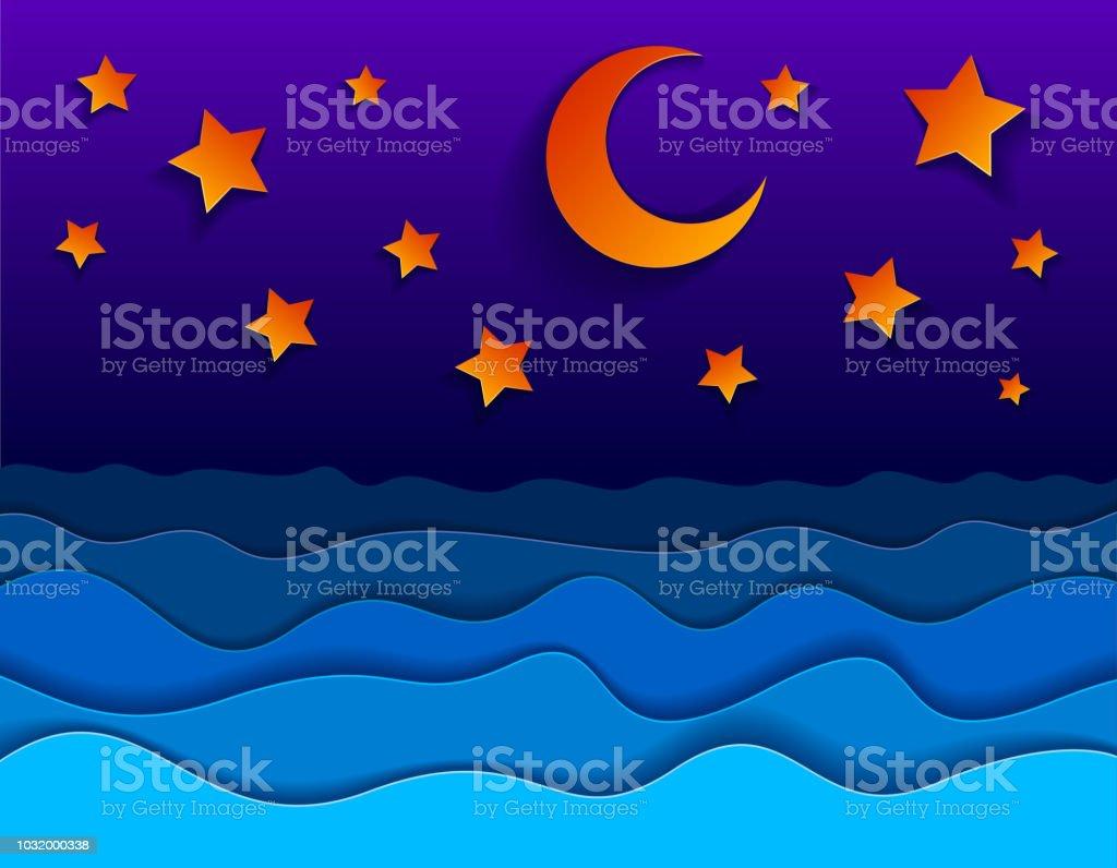 Schöne Nacht Seelandschaft In Papier Schneiden Stil Kurvige Linien