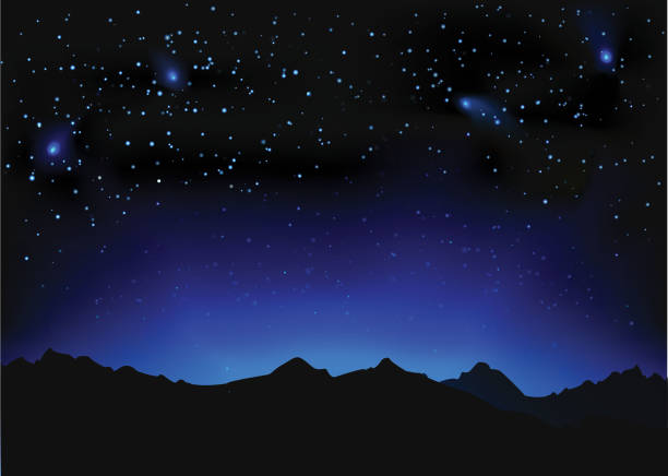 Beautiful night space landscape Beautiful night space landscape with silhouette mountains and stars tranquil scene stock illustrations