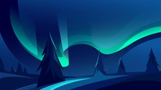 bildbanksillustrationer, clip art samt tecknat material och ikoner med vackert norrsken. - northern lights