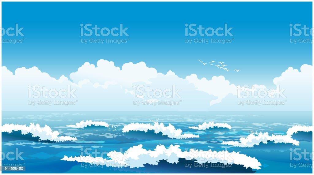 Schöne Wellen Stock Vektor Art Und Mehr Bilder Von Bedeckter Himmel