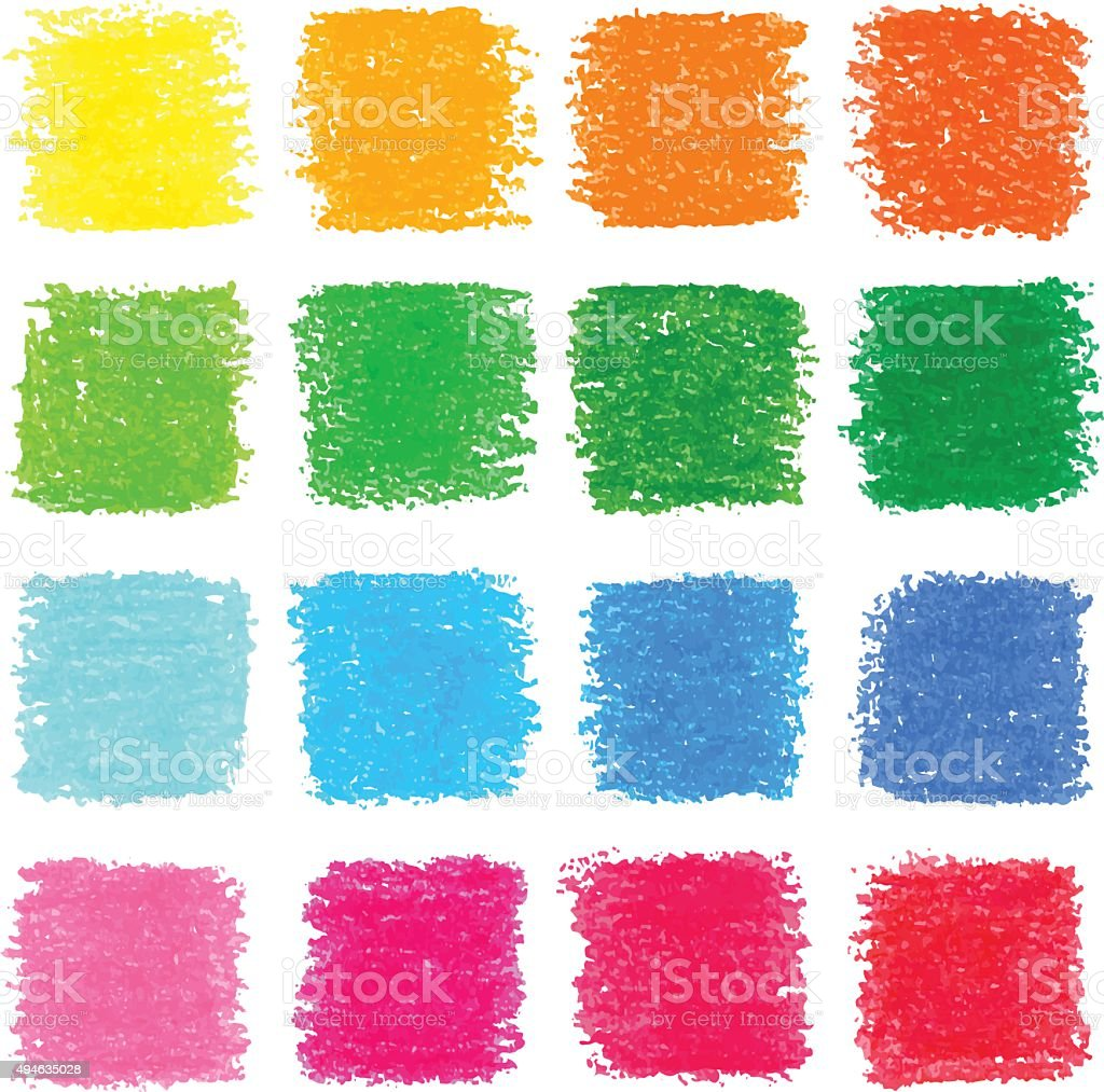 Beautiful oil pastel squares, design elements for your design. vector art illustration