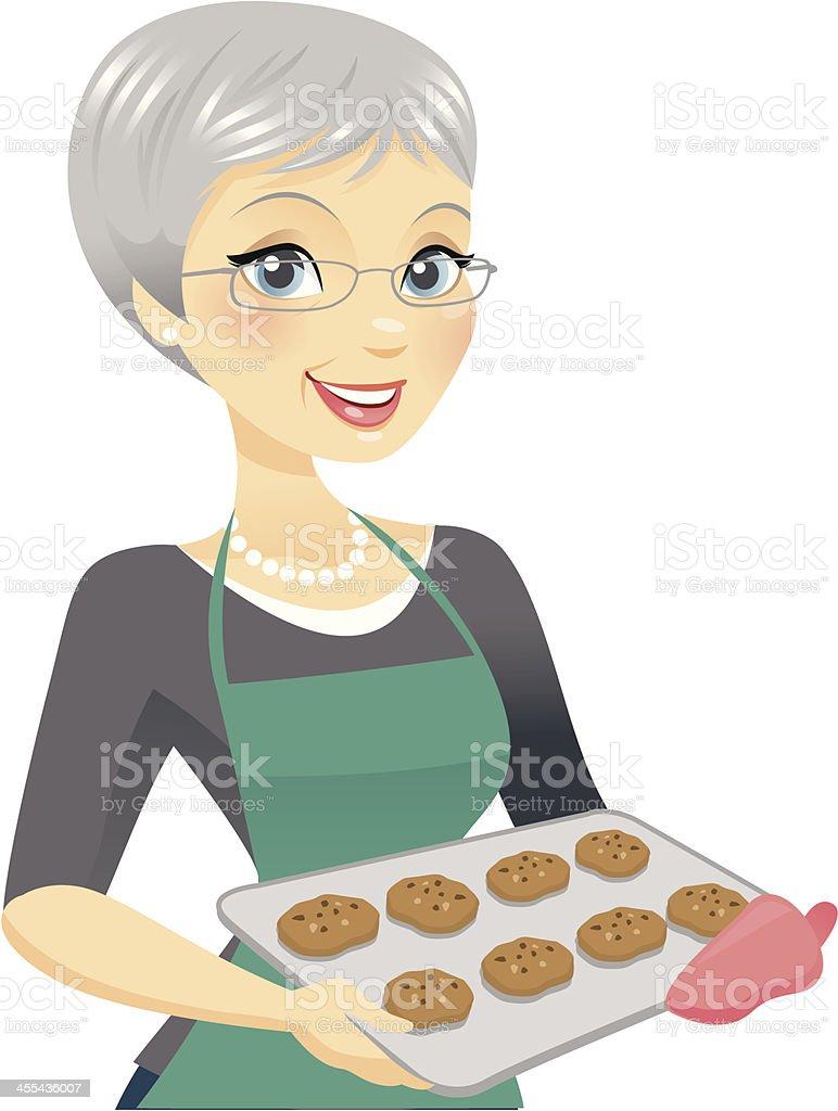 Hermosa mujer de edad avanzada hornear - ilustración de arte vectorial