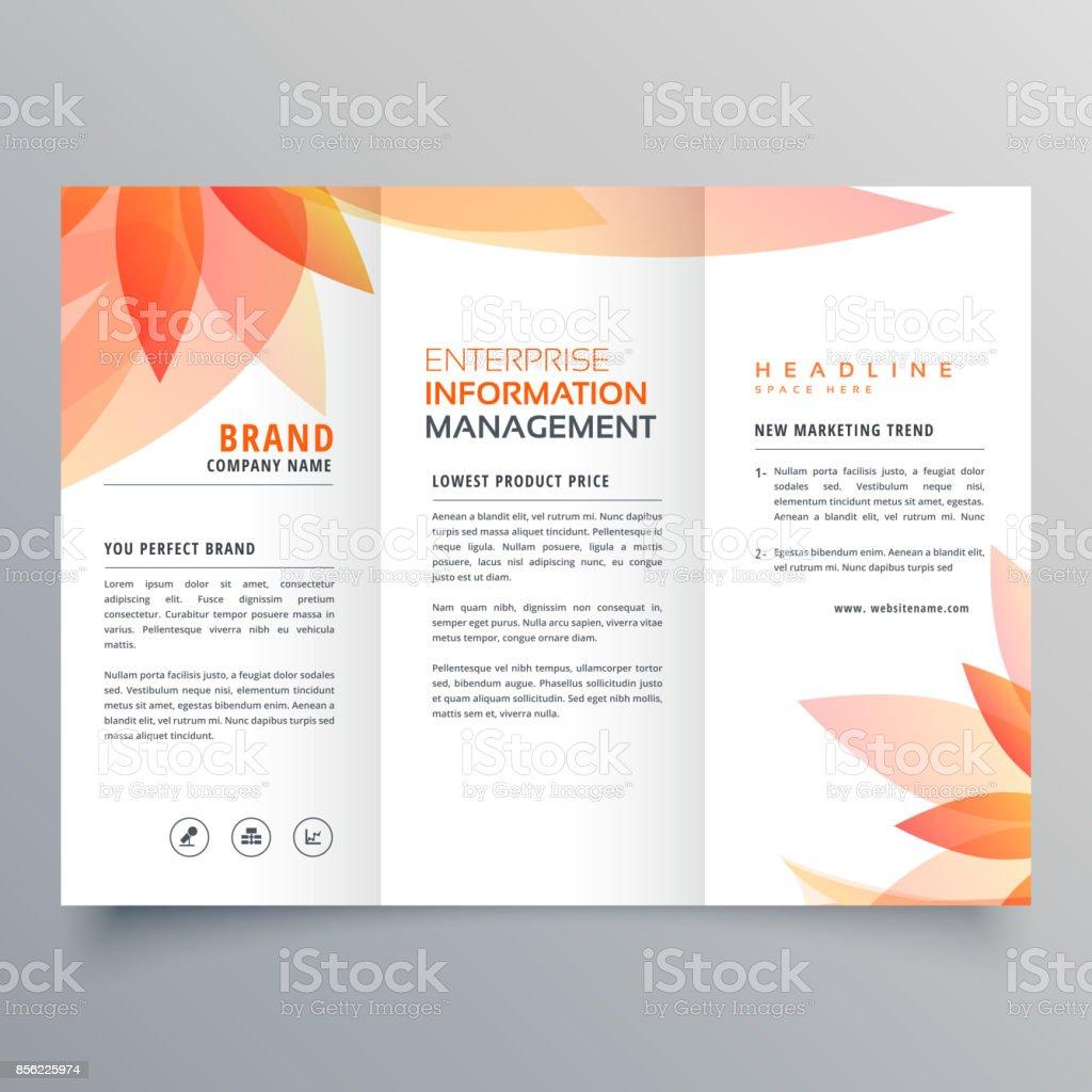 beautiful orange leaf tri fold business brochure vector design vector art illustration