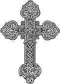 istock Beautiful ornate cross. Sketch vector illustration 627251576