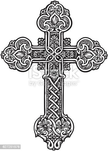 Beautiful ornate cross. Sketch vector illustration isolated on white background