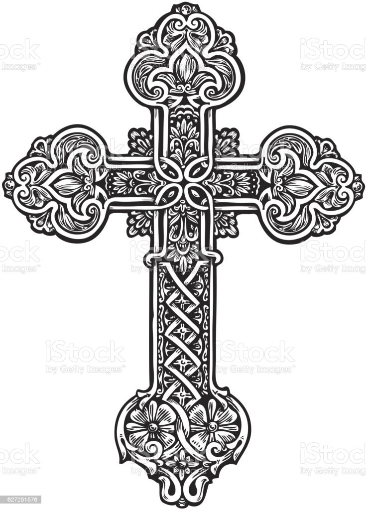 Beautiful ornate cross. Sketch vector illustration vector art illustration