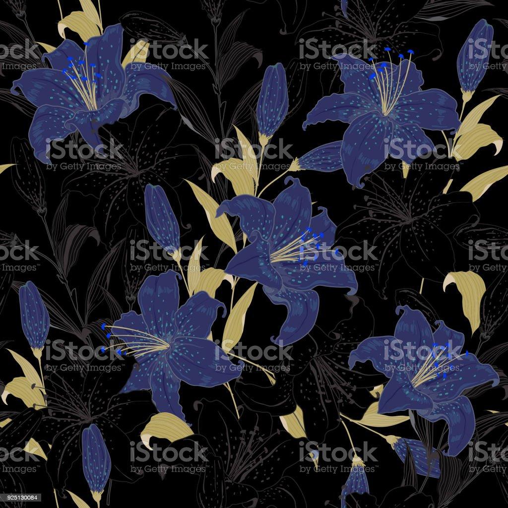 Beautiful outline garden night floral pattern blue lily flowers beautiful outline garden night floral pattern blue lily flowers botanical motifs scattered random seamless izmirmasajfo