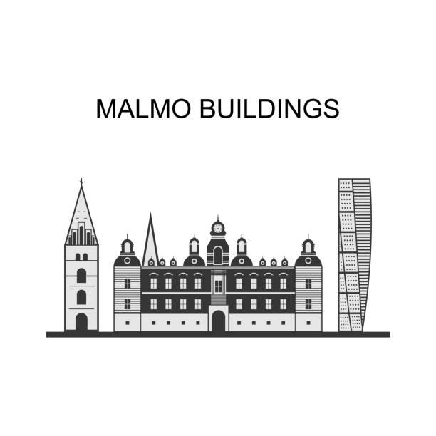 bildbanksillustrationer, clip art samt tecknat material och ikoner med vacker panoramautsikt över malmö stad i sverige. turning torso är en neo-futuristisk bostadsskyskrapa i sverige och den högsta byggnaden i skandinavien. illustration av vektor - malmö