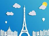 Illustration of Beautiful paper city landscape of tower eiffel