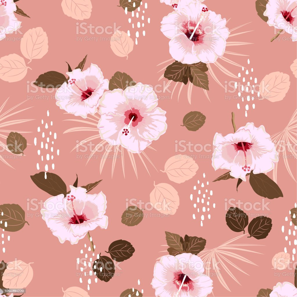 Beautiful Pastel Seamless Vector White Hibiscus Exotic Floral
