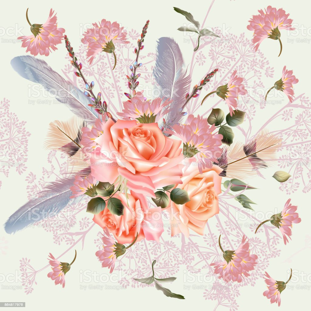 Beautiful Pattern In Vintage Victorian Style With Flowers Stock ...