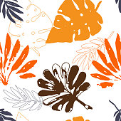 Beautiful pattern of tropical leaves freehand drawing. Sketch of the leaves of monstera and other tropical plants orange and yellow EPS8 vector illustration