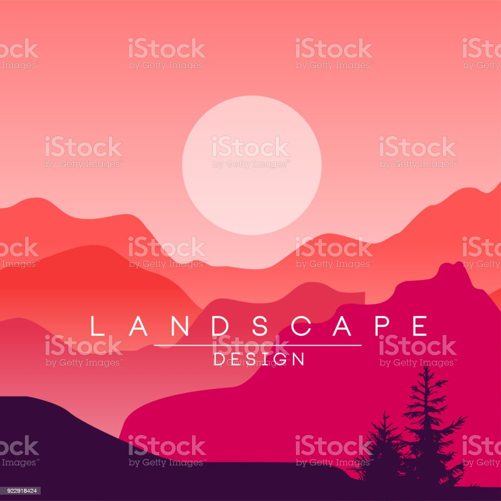 Beautiful Peaceful Mountain Landscape Red And Pink Ranges At Sunset Nature Background For