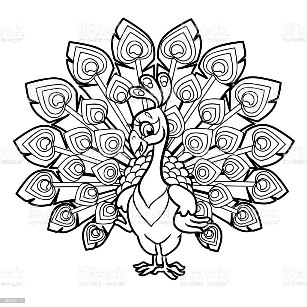 Güzel Tavuskuşu Karikatür Beyaz Arka Plan üzerinde Izole Boyama