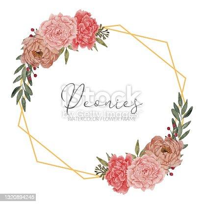 istock beautiful peony floral arrangement rustic frame border 1320894245