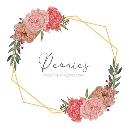beautiful peony floral arrangement rustic frame border